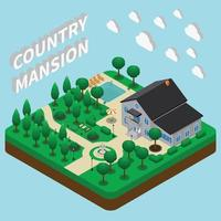 Country Mansion Isometric Composition Vector Illustration