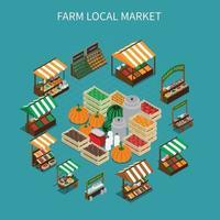 Local Market Round Composition Vector Illustration