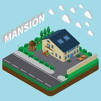 Summer Mansion Isometric Composition Vector Illustration