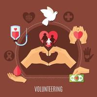 Volunteer Services Charity Composition vector