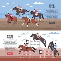 Horse Riding And Polo Banners Vector Illustration