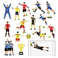 Football Team Members Set Vector Illustration