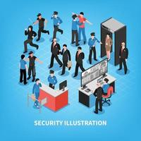 Security System Isometric Illustration Vector Illustration