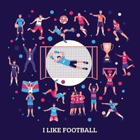 Football Supporters Round Composition Vector Illustration