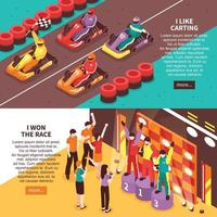 Carting Winners Banners Set Vector Illustration