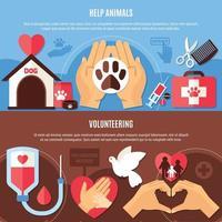 Volunteering Charity Horizontal Banners vector