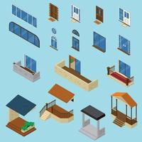 House Isometric Constructor Set Vector Illustration