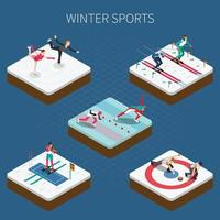 Winter Sports Isometric Composition Vector Illustration