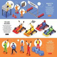 Cart Racers Horizontal Banners Vector Illustration