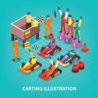 Isometric Carting Racers Background Vector Illustration
