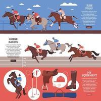 Equestrian Sport Horizontal Banners Vector Illustration