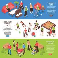 Banners isométricos para personas con discapacidad ilustración vectorial vector