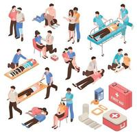 First Aid Isometric Set Vector Illustration