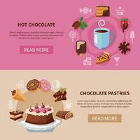 Chocolate Drink And Pastries Banners Vector Illustration