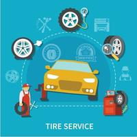 Tire Service Concept Vector Illustration