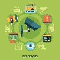 Detectors Home Security Round Composition Vector Illustration