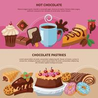 Chocolate Pastries Flat Banners Vector Illustration
