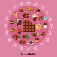 Chocolate Round Composition Vector Illustration