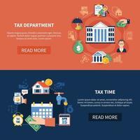 Banners horizontales del departamento de impuestos. vector