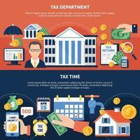 Banners horizontales de tiempo de impuestos vector