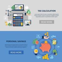 Banners horizontales de cálculo de impuestos. vector