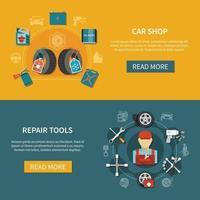Ilustración de vector de banners de servicio de neumáticos