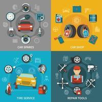 Tire Service 2x2 Set Vector Illustration