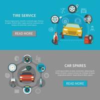 Banners de servicio de neumáticos conjunto ilustración vectorial vector