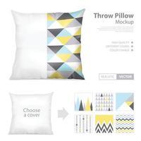 Realistic Pillows Print pattern Set Vector Illustration
