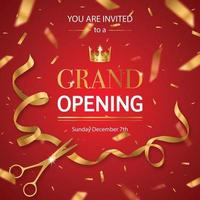 Realistic Grand Opening Invitation Pattern Vector Illustration
