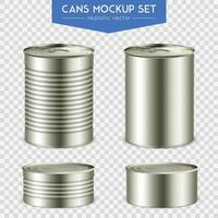 Realistic Cylindrical Cans Mockup Set Vector Illustration