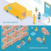 Ilustración de vector de banners isométricos de servicios de entrega de almacén