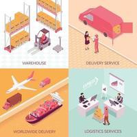 Logistics Services Isometric Design Concept Vector Illustration