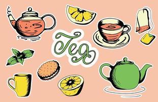 un juego de accesorios de té taza, tetera, bolsita de té, utensilios de té, vidrio en estilo plano vector