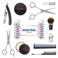 Ilustración de vector de conjunto de accesorios de peluquería realista