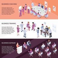 Business Training Horizontal Isometric Banners Vector Illustration