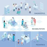 Hospital Staff Isometric Horizontal Banners Vector Illustration