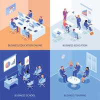 Business Education Isometric Design Concept Vector Illustration