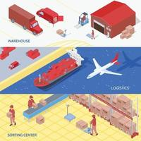 Logistics Services Isometric Banners Vector Illustration