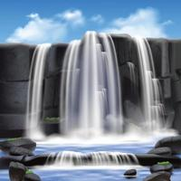 Ilustración de vector de fondo de cascada y rocas