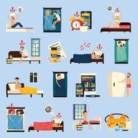 Sleep Disorder Orthogonal Flat Icons Vector Illustration