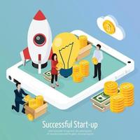 Cryptocurrency Successful Startup Isometric Composition Vector Illustration