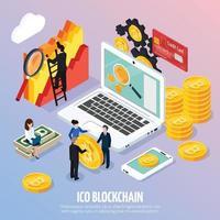 ICO Blockchain Concept Isometric Composition Vector Illustration