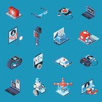 Digital Medicine Isometric Icons Vector Illustration