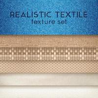 Realistic Textile Texture Horizontal Set Vector Illustration