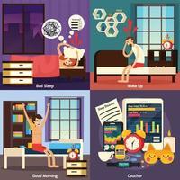 Sleep Disorder Orthogonal Design Concept Vector Illustration