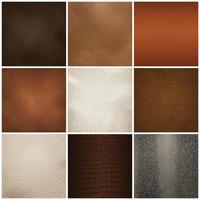 Leather Texture Samples Realistic Set Vector Illustration
