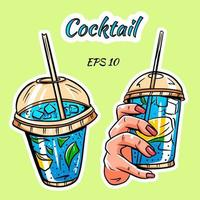 A set of cocktails. Cocktails in hand. vector