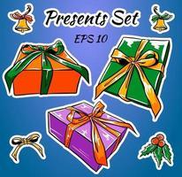 conjunto de cajas de regalo de colores con lazos y cintas vector