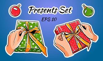 conjunto de cajas de regalo de colores con lazos y cintas. vector